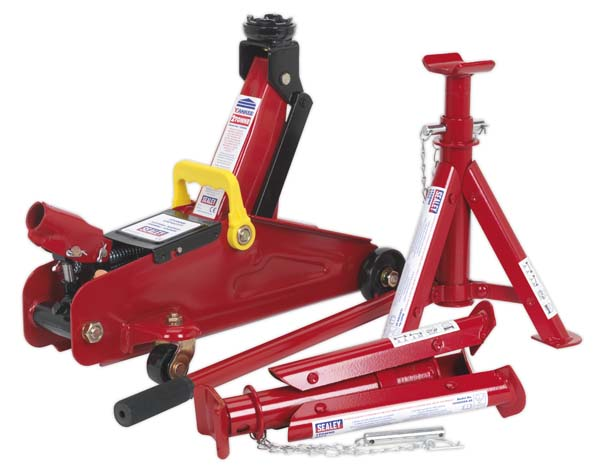 Sealey - 1030CXDK  Trolley Jack 2tonne Short Chassis with Axle Stands (Pair) 1tonne Capacity per Stand & Storage Case