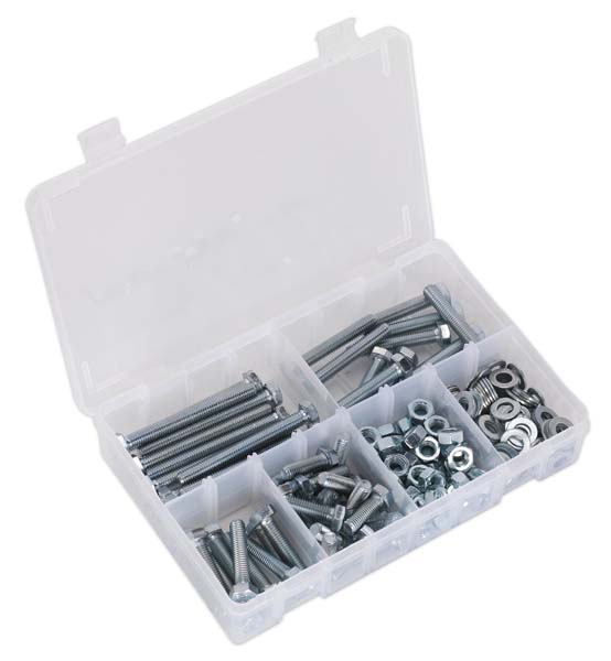 Sealey - AB051SNW  Setscrew, Nut & Washer Assortment 220pc High Tensile M8 Metric