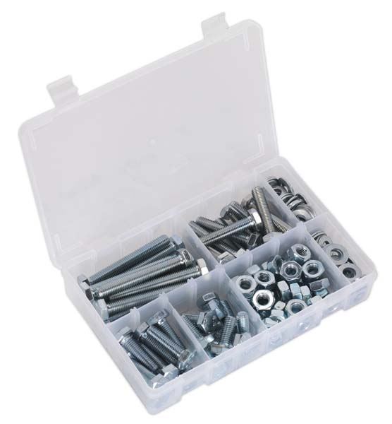 Sealey - AB052SNW  Setscrew, Nut & Washer Assortment 150pc High Tensile M10 Metric