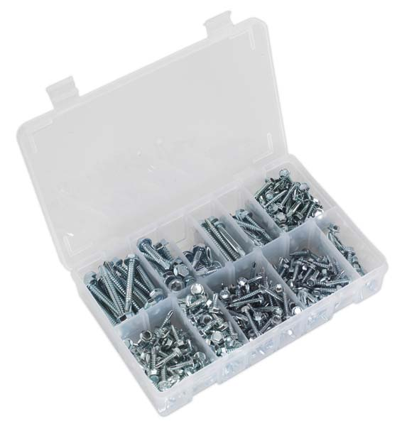 Sealey - AB061SDH  Self Drilling Screw Assortment 410pc Hex Head Zinc DIN 7504K