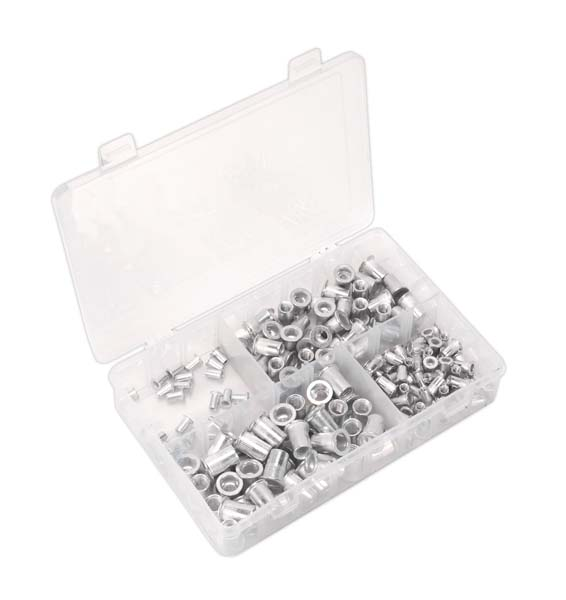 Sealey - AB073TI Threaded Insert (Rivet Nut) Assortment 200pc M4-M8 Splined Metric