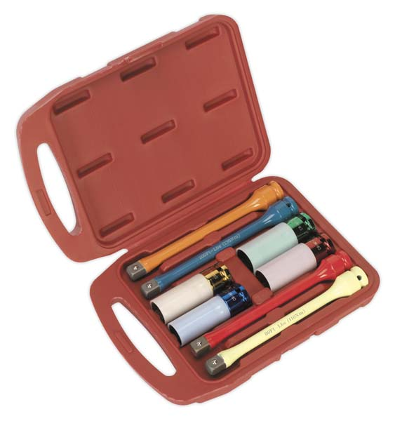 "Sealey - AK2243  Torque Stick & Aluminium Wheel Impact Socket Set 8pc 1/2""Sq Drive"