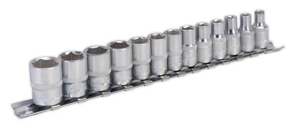 """Sealey - AK2705  Socket Set 13pc 1/4""""Sq Drive 6pt WallDrive"""