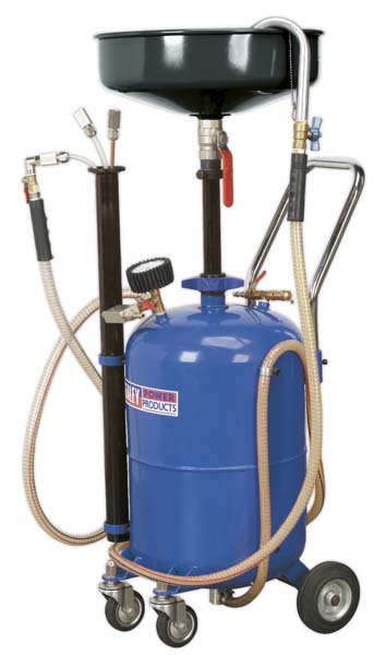 Sealey - AK456DX  Mobile Oil Drainer with Probes 35ltr Air Discharge