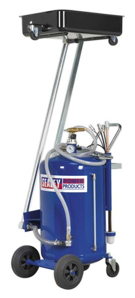 Sealey - AK462DX  Mobile Oil Drainer with Probes 100ltr Cantilever Air Discharge