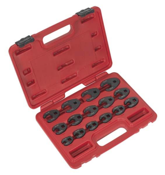 """Sealey - AK5983  Crow's Foot Spanner Set 15pc 3/8""""Sq Drive Metric"""