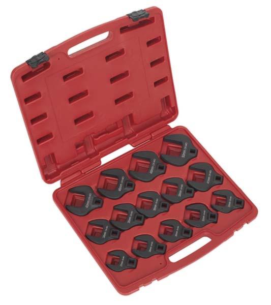 """Sealey - AK59831  Crow's Foot Spanner Set 14pc 1/2""""Sq Drive Metric"""