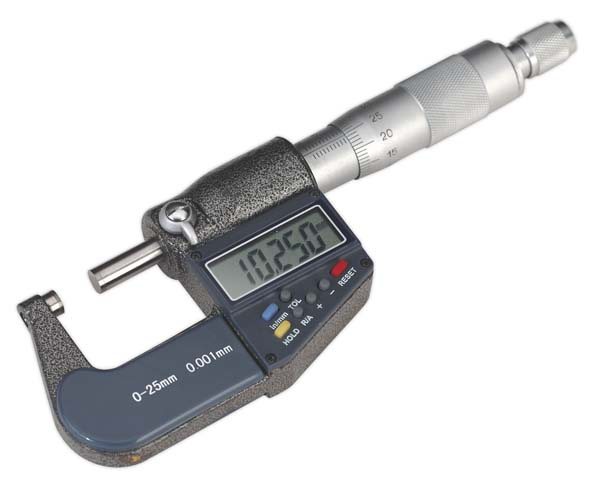 "Sealey - AK9635D  Digital External Micrometer 0-25mm(0-1"")"
