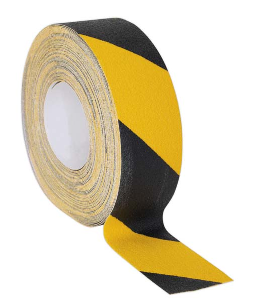 Sealey - ANTBY18  Anti-Slip Tape Self-Adhesive Black Yellow 50mm x 18mtr
