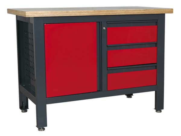 Sealey - AP1372B  Workstation with 3 Drawers & Cupboard
