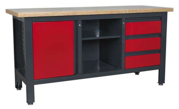 Sealey - AP1905B  Workstation with 3 Drawers, 1 Cupboard & Open Storage