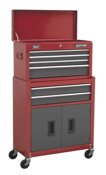 Sealey - AP2200BB  Topchest & Rollcab Combination 6 Drawer with Ball Bearing Slides - Red/Grey