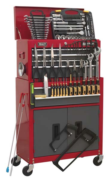 Sealey - AP2200BBCOMBO  Topchest & Rollcab Combination 6 Drawer with Ball Bearing Slides - Red/Grey & 128pc Tool Kit