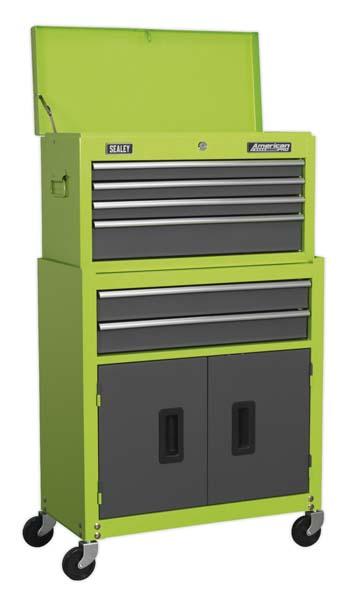 Sealey - AP2200BBHV  Topchest & Rollcab Combination 6 Drawer with Ball Bearing Slides - Hi-Vis Green/Grey