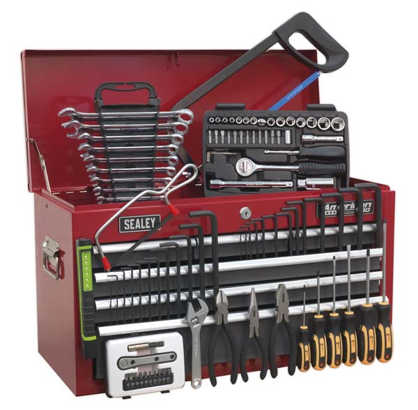 Sealey - AP2201BBCOMBO  Topchest 6 Drawer with Ball Bearing Slides - Red/Grey & 98pc Tool Kit