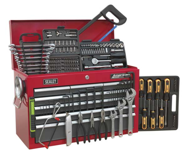 Sealey - AP22509BBCOMB  Topchest 9 Drawer with Ball Bearing Slides - Red/Grey & 205pc Tool Kit