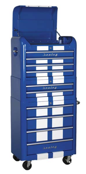 Sealey Retro Style Topchest, Mid-Box & Rollcab Combination 10 Drawer Blue/White Stripes