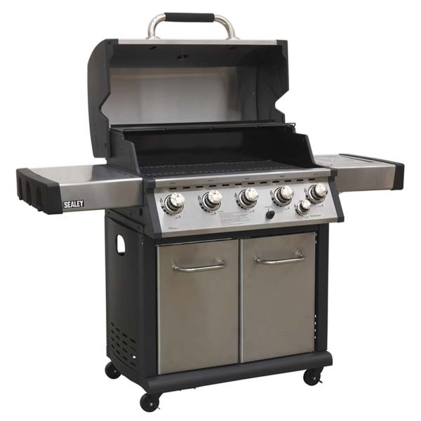 Sealey - BBQ12  Gas BBQ Stainless Steel 5 Burner + Side Burner