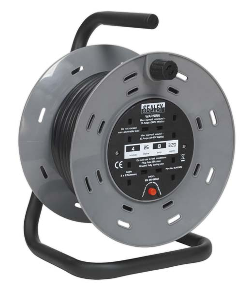 Sealey - BCR2525  Cable Reel 25mtr 4 x 230V 2.5mm