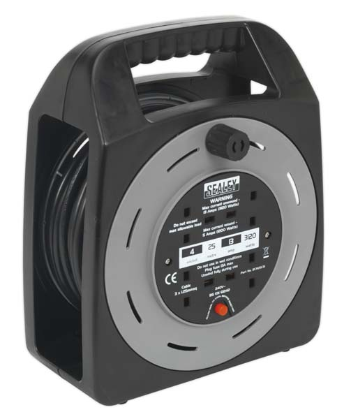 Sealey - BCR25CB  Cable Reel Box Type 25mtr 4 x 230V 1.25mm