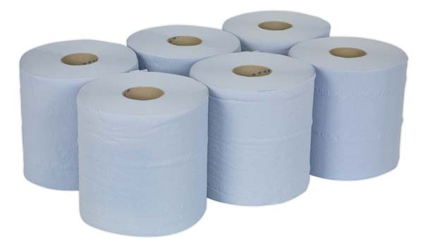 Sealey - BLU150  Paper Roll Blue 2-Ply Embossed 150mtr Pack of 6