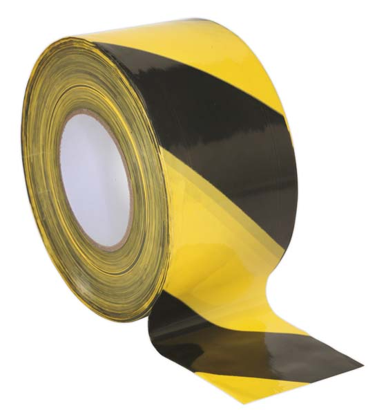 Sealey - BTBY  Hazard Warning Barrier Tape 80mm x 100mtr Black/Yellow Non-Adhesive