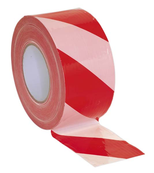 Sealey - BTRW  Hazard Warning Barrier Tape 80mm x 100mtr Red/White Non-Adhesive