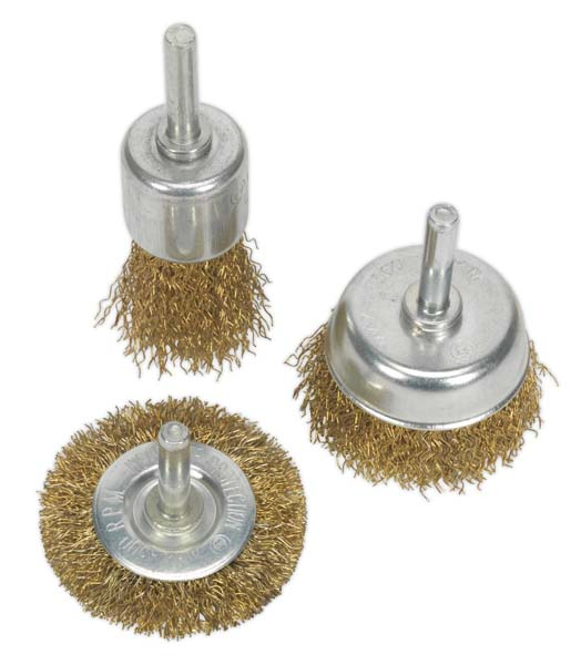 Sealey - BWBS03  Wire Brush Set 3pc Brassed