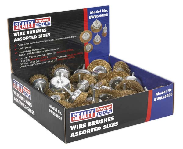 Sealey - BWBS40DB  Wire Brushes Assorted Sizes Display Box of 40