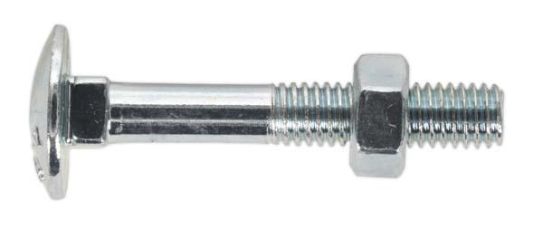 Sealey - CBN640  Coach Bolt & Nut M6 x 40mm Zinc DIN 603 Pack of 100