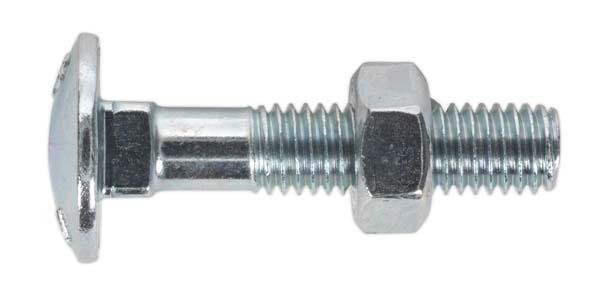 Sealey - CBN840  Coach Bolt & Nut M8 x 40mm Zinc DIN 603 Pack of 50