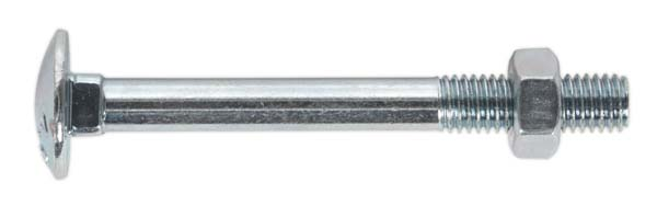 Sealey - CBN875  Coach Bolt & Nut M8 x 75mm Zinc DIN 603 Pack of 50