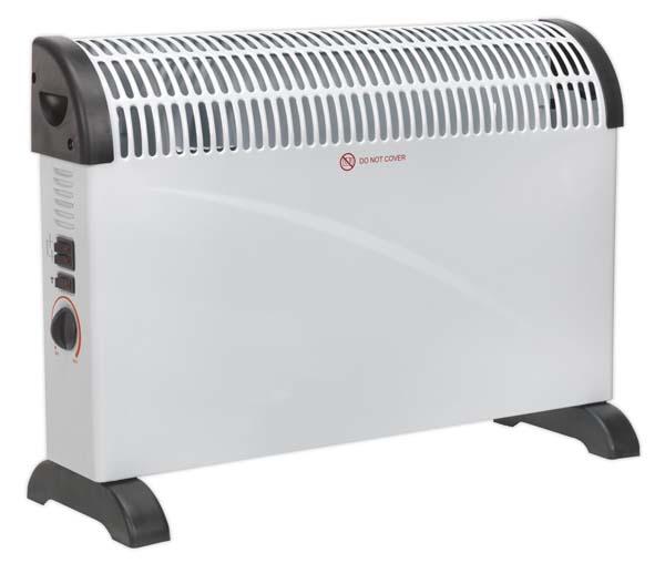 Sealey - CD2005T  Convector Heater 2000W 3 Heat Settings Thermostat Turbo Fan
