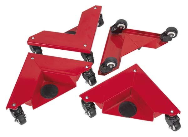 Sealey - CM4  Corner Transport Dollies Set of 4 150kg Capacity
