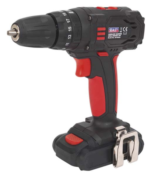Sealey - CP18VLD  Cordless 10mm Hammer Drill/Driver 18V 1.5Ah Lithium-ion 2-Speed - Fast Charger