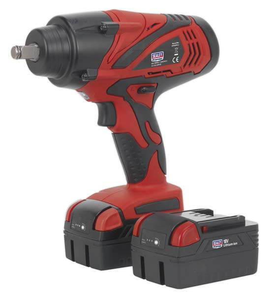"""Sealey - CP3005  Cordless Impact Wrench 18V 4Ah Lithium-ion 1/2""""Sq Drive 650Nm - 2 Batteries"""