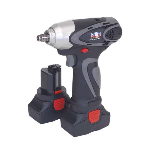 "Sealey - CP6001  Cordless Impact Wrench 14.4V 2Ah Lithium-ion 3/8""Sq Drive 140Nm - 2 Batteries 40min Charger"