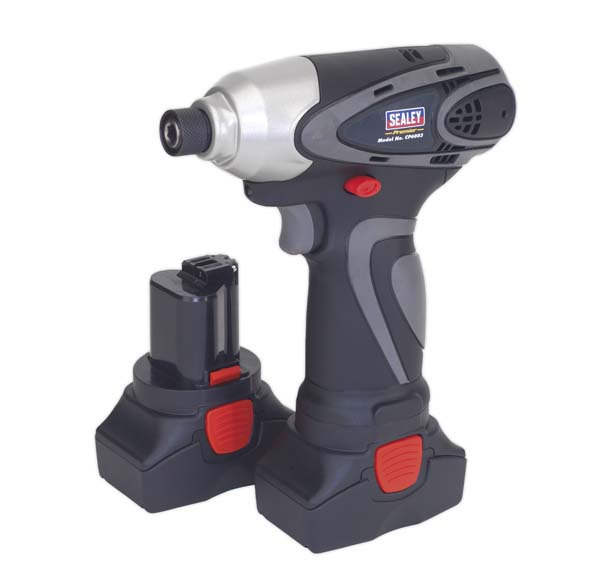 """Sealey - CP6003  Cordless Impact Driver 14.4V 2Ah Lithium-ion 1/4"""" Hex Drive 117Nm - 2 Batteries 40min Charger"""
