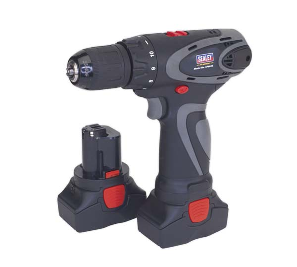 Sealey - CP6004  Cordless Drill/Driver 14.4V 2Ah Lithium-ion 10mm 2-Speed Motor - 2 Batteries 40min Charger