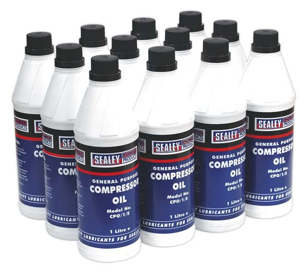 Sealey - CPO/1  Compressor Oil 1ltr Pack of 12
