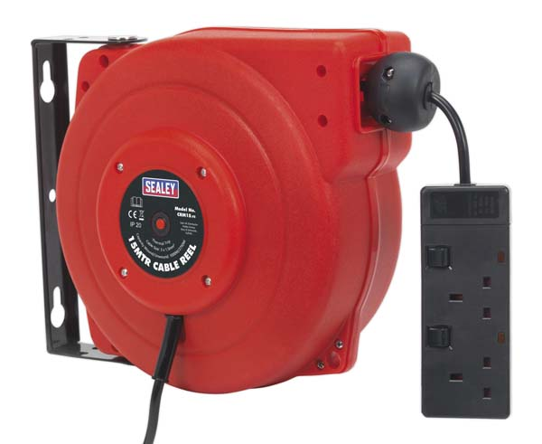 Sealey - CRM15  Cable Reel System Retractable 15mtr 2 x 230V Socket