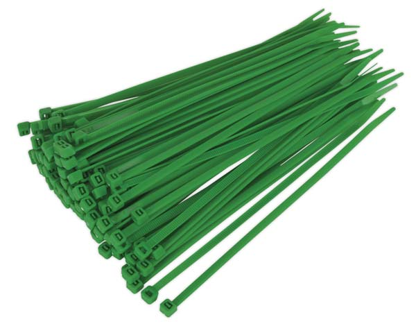Sealey - CT20048P100G  Cable Tie 200 x 4.8mm Green Pack of 100