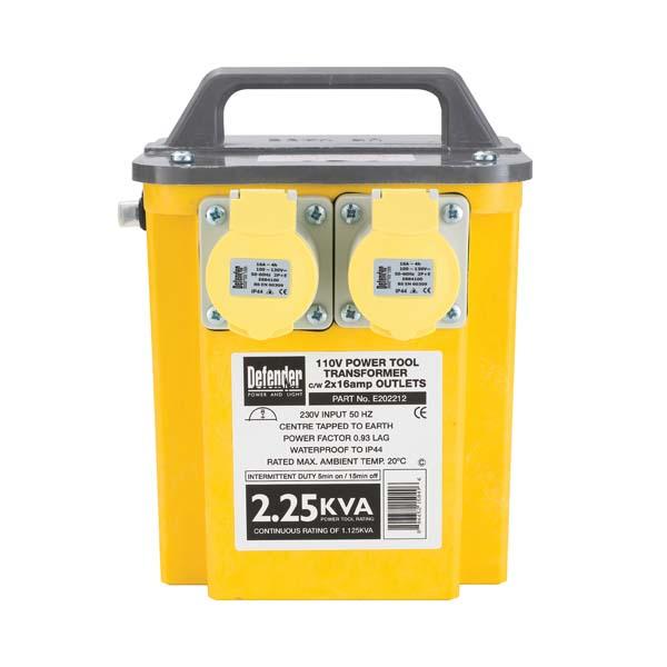 Defender 2.25kVA Transformer 2x 16A 110V Outlets