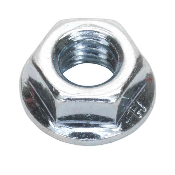 Sealey - FN8  Flange Nut Serrated M8 Zinc DIN 6923 Pack of 100