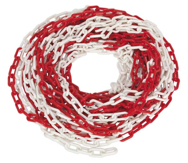 Sealey - HSC25M  Safety Chain Red/White 25mtr x 6mm