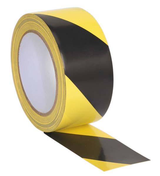 Sealey - HWTBY  Hazard Warning Tape 50mm x 33mtr Black/Yellow