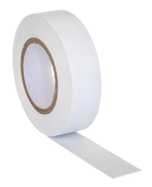 Sealey - ITWHT10  PVC Insulating Tape 19mm x 20mtr White Pack of 10