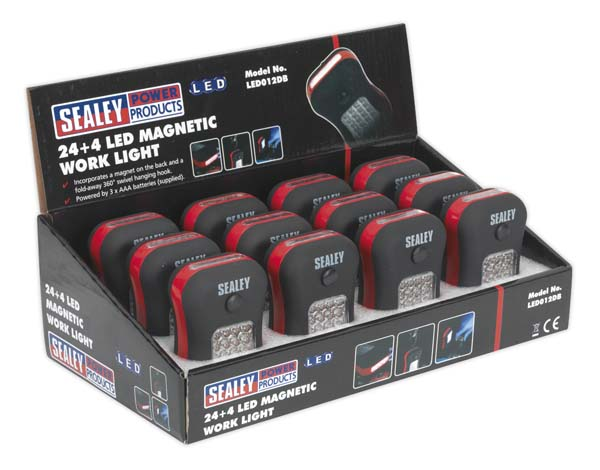 Sealey - LED012DB  Magnetic Work Light 24+4 LED Display Box of 12