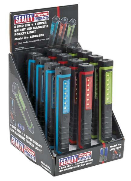 Sealey - LED028DB  Magnetic Pocket Light 6 SMD + 1 LED - Display Box of 12