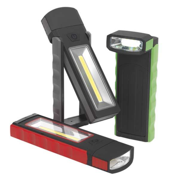 Sealey - LED4101DB  Magnetic Pocket Light 3W + 0.5W COB LED 4 x AAA Display Box of 12